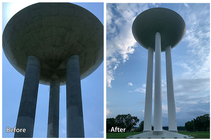 Before and after water tower