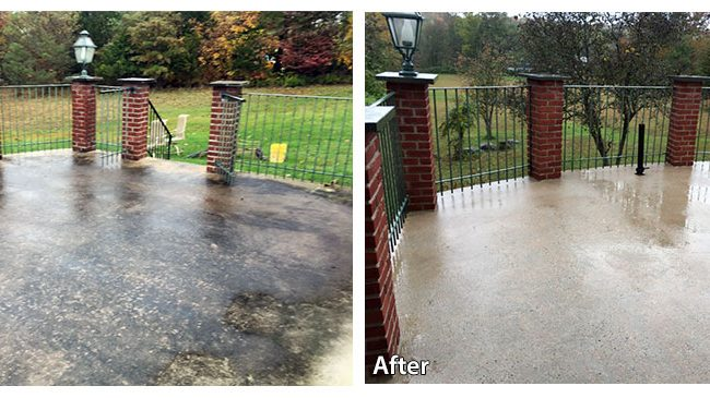 elevated patio surface before and after pressure washing